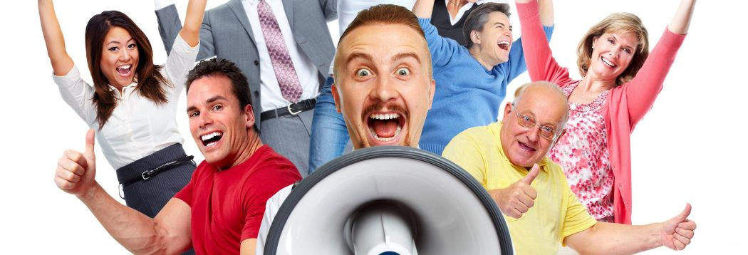 Excited People-Megaphone-Infohub - shutterstock_322090571